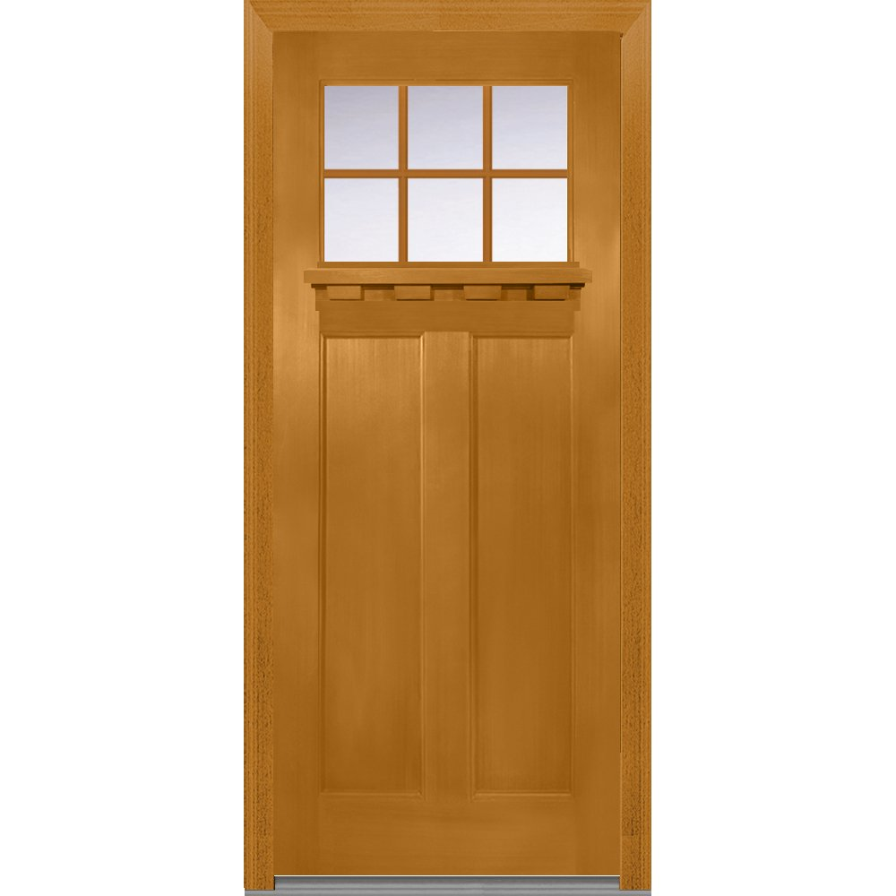 National Door Company Z006254R, Fiberglass Fir, Fruitwood, Right Hand In-swing, Exterior Prehung Door, Craftsman 2-Panel with Dentil Shelf, 36'' x 80''