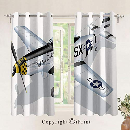 Blackout Curtains 2 Panels Set Room Darkening Drapes P 51 Mustang Dallas Doll Detailed Illustration American Air Force Decorative Thermal Insulated Grommets Window Treatment,W29.5xL63 inch,Multicolor