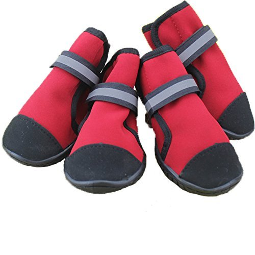 Red XXS Red XXS O&C Dog Boots Guardian Gear Water Repellent All Weather Predective Booties Pet shoes (Red, XXS)