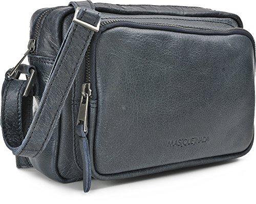 MASQUENADA, borse a tracolla donna in pelle, tracolle, 25 x 17,5 x 7 cm (L x A x P), colore: blu scuro