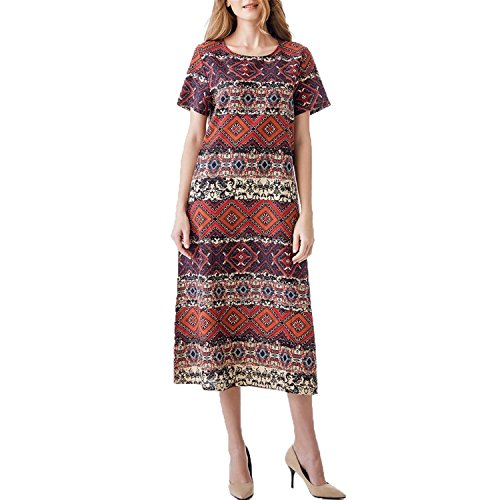 Amtivaya Plus Size Print Cotton Linen Dress Midi Casual Ladies Stripe Vintage Ethnic Bohemian Short Sleeve with Pocket H8916 Wine 3XL - Prints Cotton Linen Scarf
