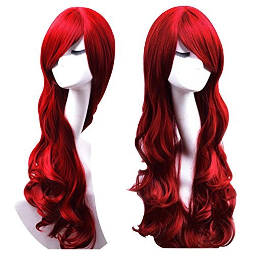 Discoball Women's ladies dark Red long Fashion Natural Full Curl Wig Cosplay wigs by discoball 51PJE3kyssL