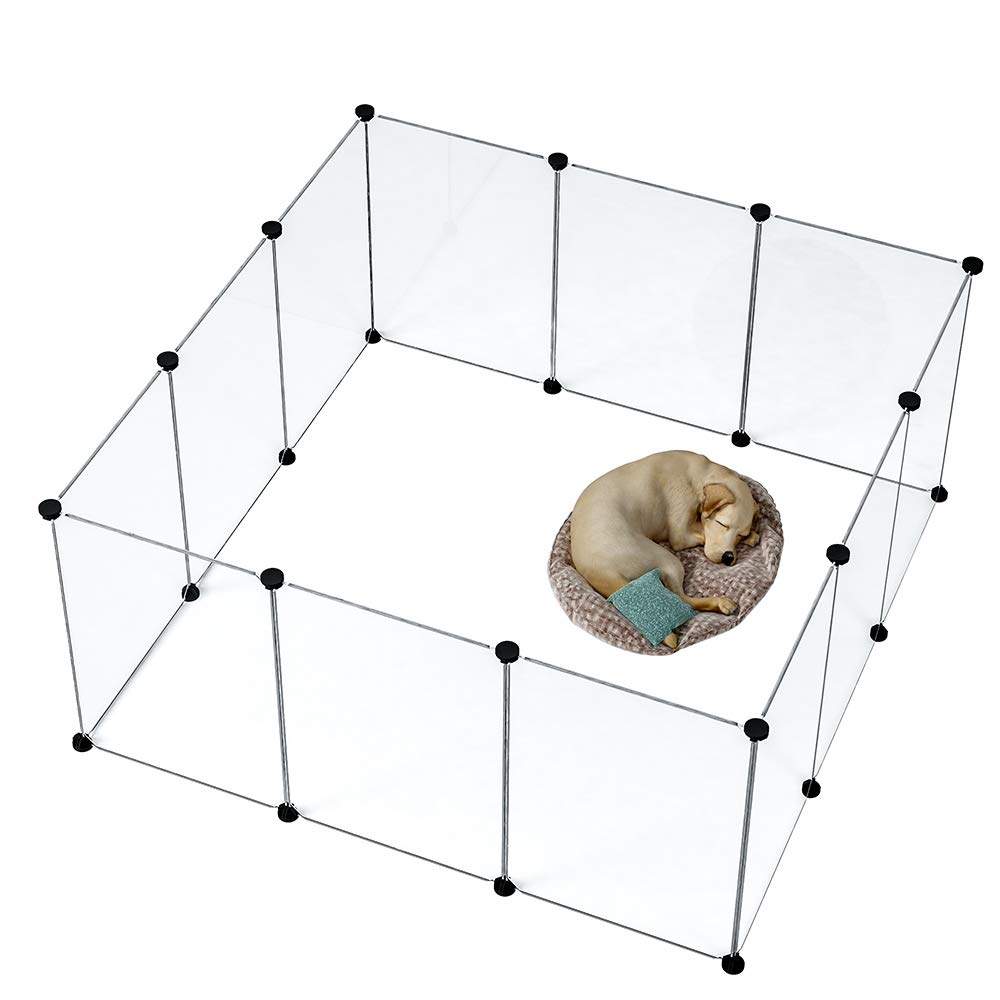 MAGINELS Pet Playpen Dog Puppy Crate Kennel Rabbit Fence Panels Plastic Exercise Pen Cage Yard for Small Animals Rat Transparent 12 Panels