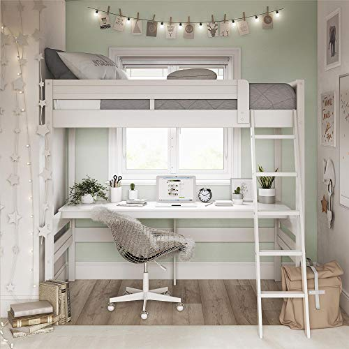 Dorel Living DA6580W Harlan Loft Bed, White (Loft And Bed Trundle)
