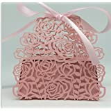 50 Pack Roses Flowers Laser Cut Favor Candy Box Bomboniere with Ribbons Bridal Shower Wedding Party Favors (Pink)