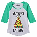 Girls Gray Seasons Eatings Holiday T-Shirt Pizza Christmas Tree Tee Shirt Small