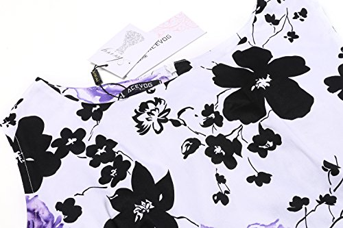 Acevog Cru Robe Pique-nique Partie Jardin De Printemps Floral De 1950 Robe De Cocktail De Fête Violet