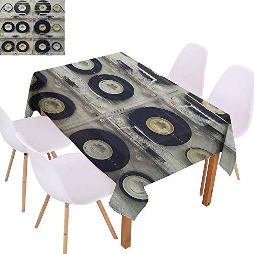 (UHOO2018 90s,Printed Tablecloth,Picture of Six Audio Cassettes for Recorder Retro Style Vintage Old Time Popular Technology,Machine Washable,Black,50