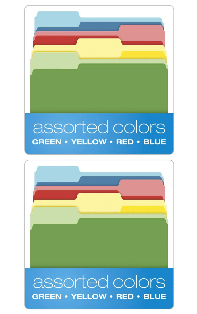 Pendaflex IUYEHDUH Two-Tone Color File Folders, Letter Size, Assorted Colors (Bright Green, Yellow, Red, Blue), 1/3-Cut Tabs, Assorted, 36 Pack (03086) 2 Pack