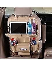 UTOBY Bilryggstödsskydd multifunktionell vattentät bilbarnstol arrangör i PU-läder med vikbar bil matbord surfplattehållare bilstolskydd ryggstöd med påse