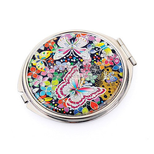 Mother of Pearl Butterfly Flower Double Compact Cosmetic Makeup Handbag Pocket Beauty Purse Mirror, 3.2 Ounce