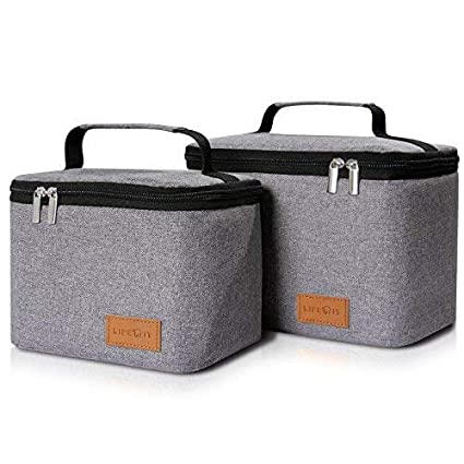 2276e2def241 Lifewit Insulated Lunch Box Bag for Men/Women, Thermal Bento Bag for  Office/School/Picnic, Grey [ Pack of 2 ]