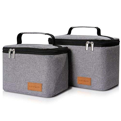 Lifewit Insulated Lunch Box Bag for Men/Women, Thermal Bento Bag for Office/School/Picnic, Grey [ Pack of 2 ]