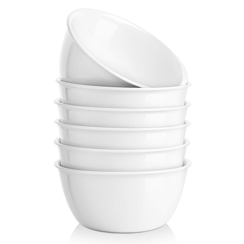 MALACASA 4//8 Set Cereal Bowls White Porcelain Breakfast Dessert Soup Bowls Plate