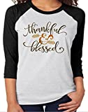 JINTING The Thankful Blessed Letters Print 3/4 Sleeve T-shirt Blessing Arrow Print Tee size US 6/Tag L (Black)