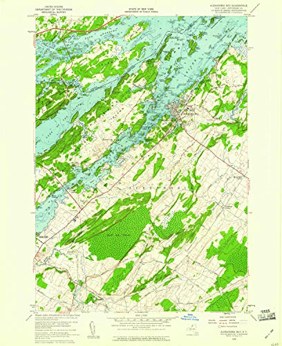 YellowMaps Alexandria Bay NY topo map, 1:24000 Scale, 7.5 X 7.5 Minute, Historical, 1958, Updated 1960, 26.9 x 22 in - Polypropylene