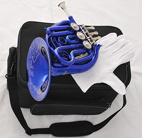 FidgetGear Blue Piccolo MiNi French Horn Bb Key Pocket horn Engraving Bell New Case
