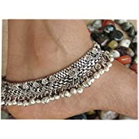Anklet Bracelet Pair 10 inches Long | Vintage Style Womens Fashion Ankle Feet Jewelry | Boho Beach Wedding Barefoot Sandals | Jingle Bell Charm | Indian Payal Oxidized German Silver Novelty Accessory
