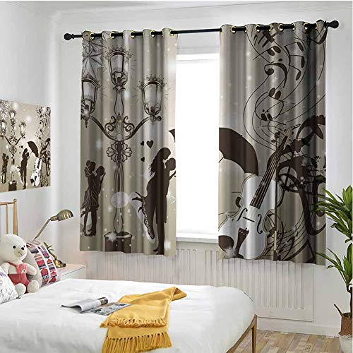 Romantic 100% blackout lining curtain Kissing Couples on Street with Lanterns Violin Music Love Valentines Theme Full shading treatment kitchen insulation curtain W72 x L84 Inch Dust Dark Taupe