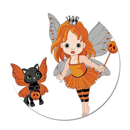 Halloween Round Door Mat 23.6 Inches,Halloween Baby Fairy and Her Cat in Costumes Butterflies Girls Kids Room Decor Decorative for Living Room Bedroom,23.6''Round ()