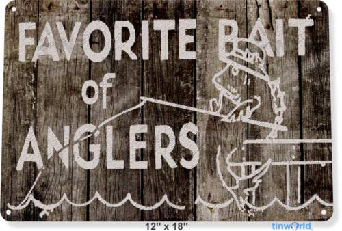 (TIN Sign 8x12 inch Anglers Bait Tackle Fishing Fish Lures Lake House Cabin)