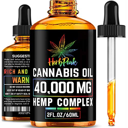 Hemp Oil 40,000mg for Stress Relief - Premium Superstrong Formula - Immunity & Mood Support - 100% Safe & Natural Ingredients - Provides Deep Sleep - Made in USA - Omega 3, 6 & 9