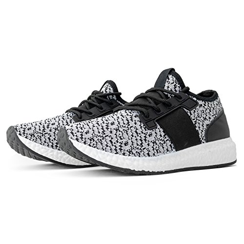 RF ROOM OF FASHION Women's Lace up Stretch Flyknit Fashion Sneakers - Lightweight Sporty Casual Flats - Low Top Walking Shoes (Black Knit Size 7)