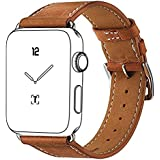 Apple Watch Band, Marge Plus Genuine Leather Band Single Tour Replacement Smart Watch iWatch Strap Bracelet with Adapter Clasp for Apple Watch Models 42mm-Brown
