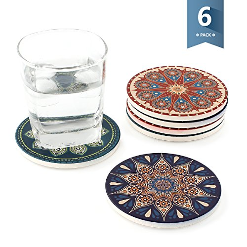 Sweese Drink Coasters with Cork Base - Absorbent Stone Coaster Set - 6 Packs, Round, Vintage (6 Round Coasters)