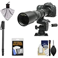 Rokinon 500mm f/8 Telephoto Lens with 2x Teleconverter (=1000mm) + Monopod Kit for Canon EOS 60D, 7D, 5D Mark II III, Rebel T3, T3i, T4i Digital SLR Cameras