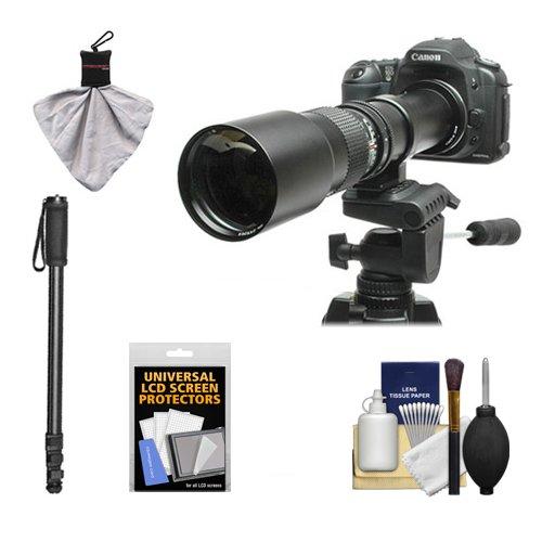 Rokinon 500mm f/8 Telephoto Lens with 2x Teleconverter (=1000mm) + Monopod Kit for Canon EOS 60D, 7D, 5D Mark II III, Rebel T3, T3i, T4i Digital SLR Cameras by Rokinon