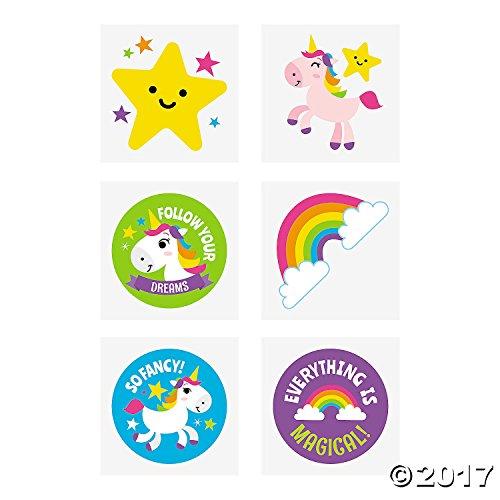 Rainbow Unicorn Tattoos - 72 pc