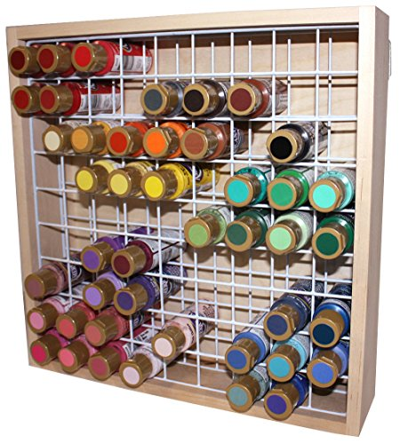 Wooden Craft Paint Storage Rack - Holds 81 Standard Size 2oz. Bottles of Paint.