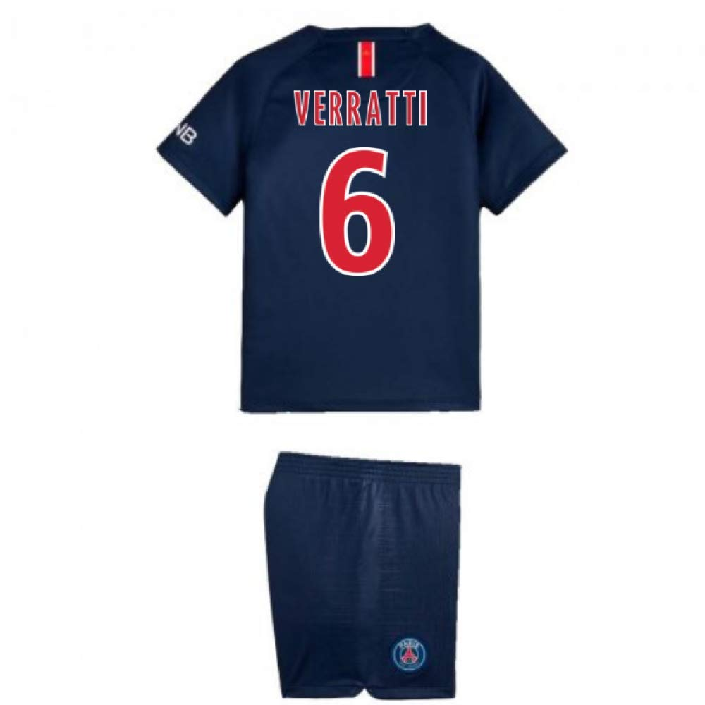 UKSoccershop 2018-2019 PSG Home Nike Little Boys Mini Kit (Marco Verratti 6)