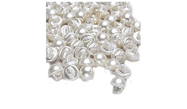 100Pcs 12mm White Plastic Round Dome Pearl Bead Clothes Craft Fit Buttons S L4A4