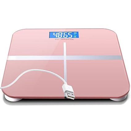Balanza De Grasa Corporal Ultradelgada, Carga USB De Vidrio Templado Baño Electrónico Que Pesa De