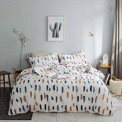 VM VOUGEMARKET Colorful Feather Printed Duvet Cover Set Queen,3 Pieces Lightweight Cotton Reversible Full Bedding Set with Zipper Closure-Full/Queen,Feather