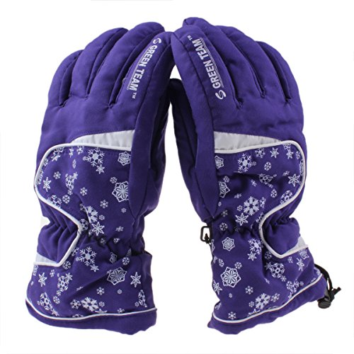 Ieasysexy Women's Snowflake Waterproof Lined Ski Glove Outdoor Sports Snow Skiing Riding Motorcycle Warm Protective Full Finger Gloves Perfect Xmas Gift (M, Light Purple)