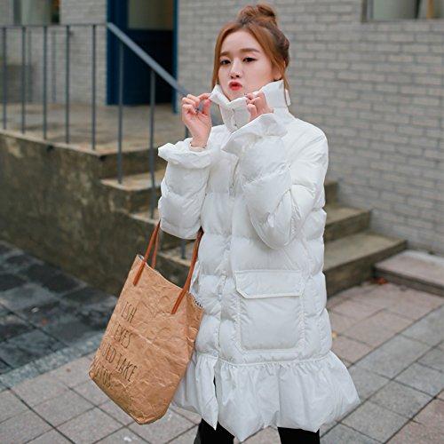 Jacket Women Winter Cotton Peng Women Princess Clothing Cotton Sweet In The Hem Lotus Paragraph Long White Xuanku Leaf Peng 0Tqw4Bp4