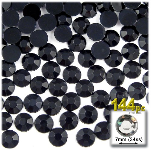 The Crafts Outlet 144-Piece Flat Back Acrylic Round Rhinestones, 7mm, Jet Black