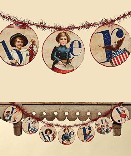 Bethany Lowe Americana Patriotic Liberty Disc Garland 6 ft
