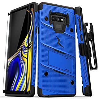 Zizo 1BOLT-SAMGN9-BLBK Bolt Cover Kickstand and Holster Case with Glass Screen Protector for Samsung Galaxy Note 9 - Blue/Black