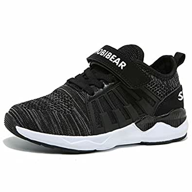 HOBIBEAR Kids Breathable Knit Sneakers Lightweight Mesh Athletic Running Shoes Black Size: 1.5 Little Kid
