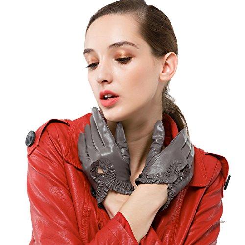 NAPPAGLO レディース 女性用 ショート レザー 独特のデザイン スマホ対応 手作り 通勤 運転 パーティー グローブ 手袋