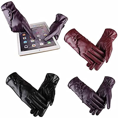 Winter Warm Gloves,Hemlock Women's Waterproof Driving PU Leather Gloves Phone Screen Touch Mittens