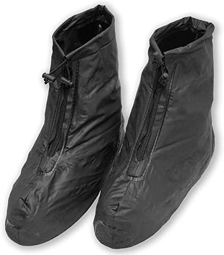 GoodsLand 【ファスナー式】 防水 レイン シューズ カバー メンズ レディース 軽量 雨 登山 ブラック 黒 GD-H512-XXL