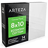 8 x 10 canvas panels - Arteza Painting Canvas Panels, 8x10, Set of 14, Primed White, 100% Cotton with Recycled Board Core, for Acrylic, Oil, Other Wet or Dry Art Media, for Artists, Hobby Painters, Kids