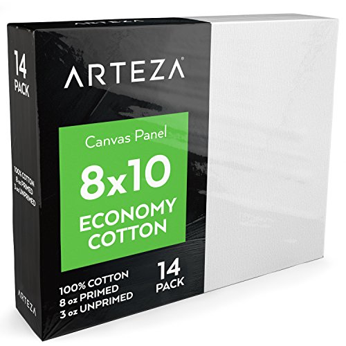 "Arteza 8x10"" White Blank Canvas Panels Boards, Bulk Pack of 14, Primed, 100% Cotton for Acrylic Painting, Oil Paint & Wet Art Media, Canvases for Professional Artist, Hobby Painters & Beginners"
