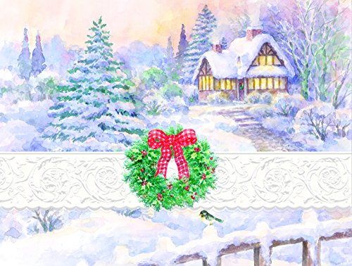 Carol Wilson Fine Arts Inc. -Christmas Holiday - Winter Scene - Embossed Blank Note Card Set with Portfolio - ncpx2425