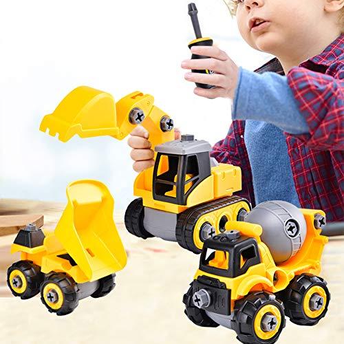 [해외]CeleMoon Construction Vehicles Assembly Take Apart Trucks STEM Learning Toys Set of 3 Dump Truck Cement Truck & Digger with Screwdriver Ideal Educational Toy Gift for Kids Ages 3 - 6 Years / CeleMoon Construction Vehicles Assembly ...